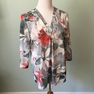 3/$20 Vintage Blair Green Coral Floral Top Large